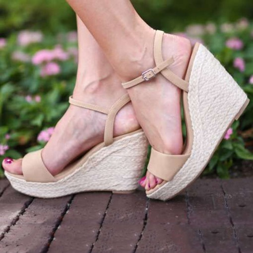 Open Toe Ankle Strap Buckle Wedge Heel Espadrille Sandals