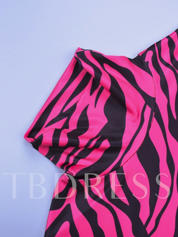 Zebra Stripe Print Shorts Sexy Slim Women's Rompers
