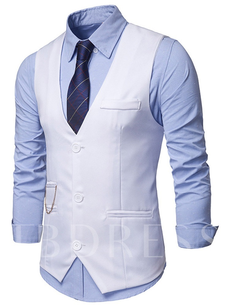 Plain V-Neck Single-Breasted Men's Waistcoat