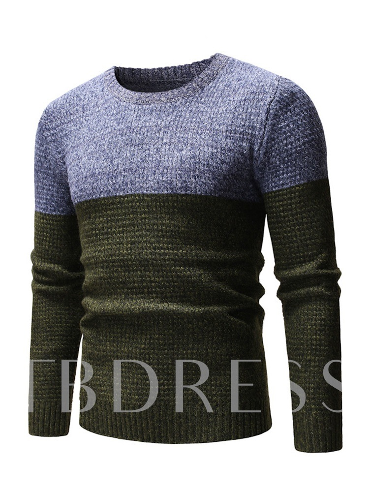 Color Block Round Neck Patchwork Slim Men's Sweater