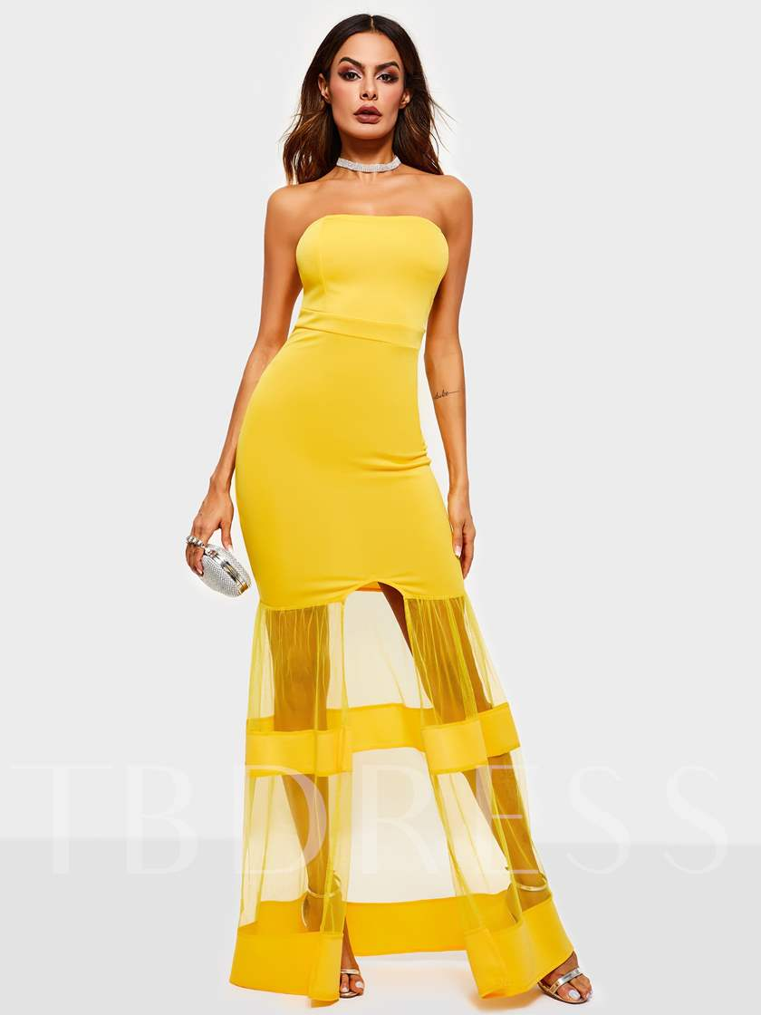 See-Through Sleeveless Pullover Women's Maxi Dress