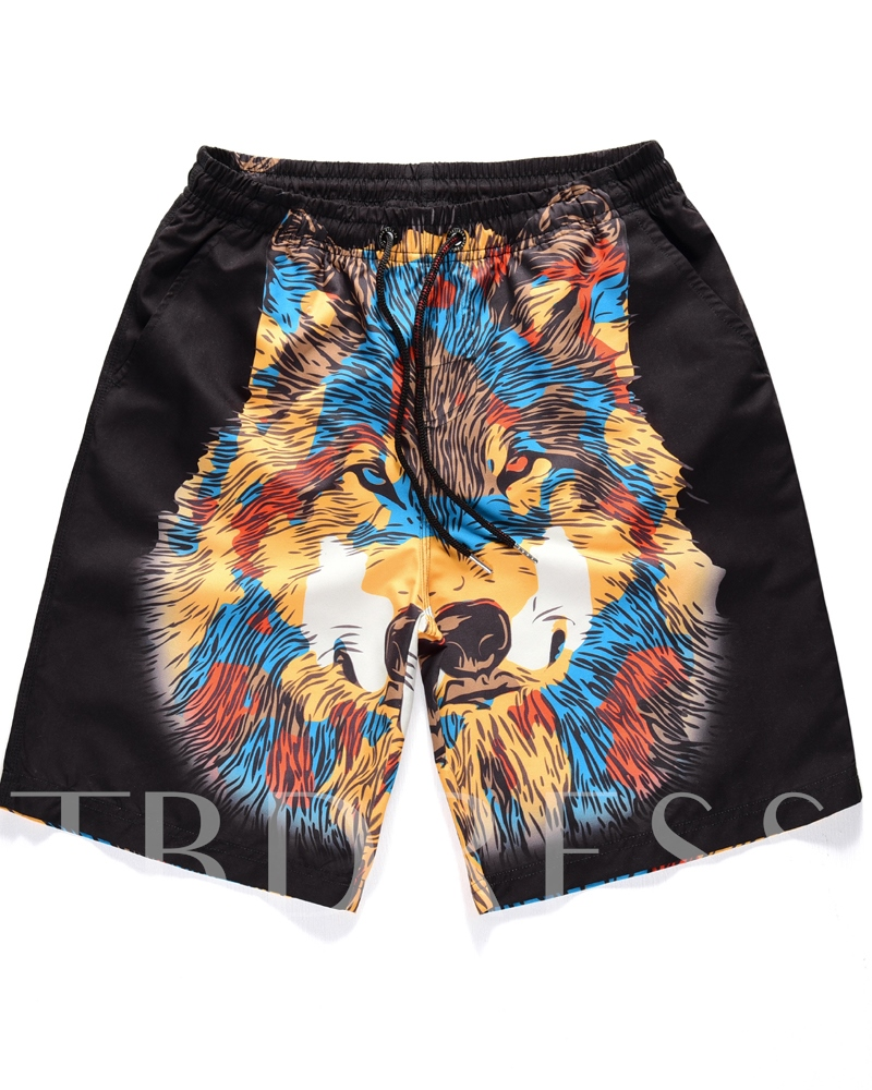 Wolf Head Print Straight Men's Beach Shorts