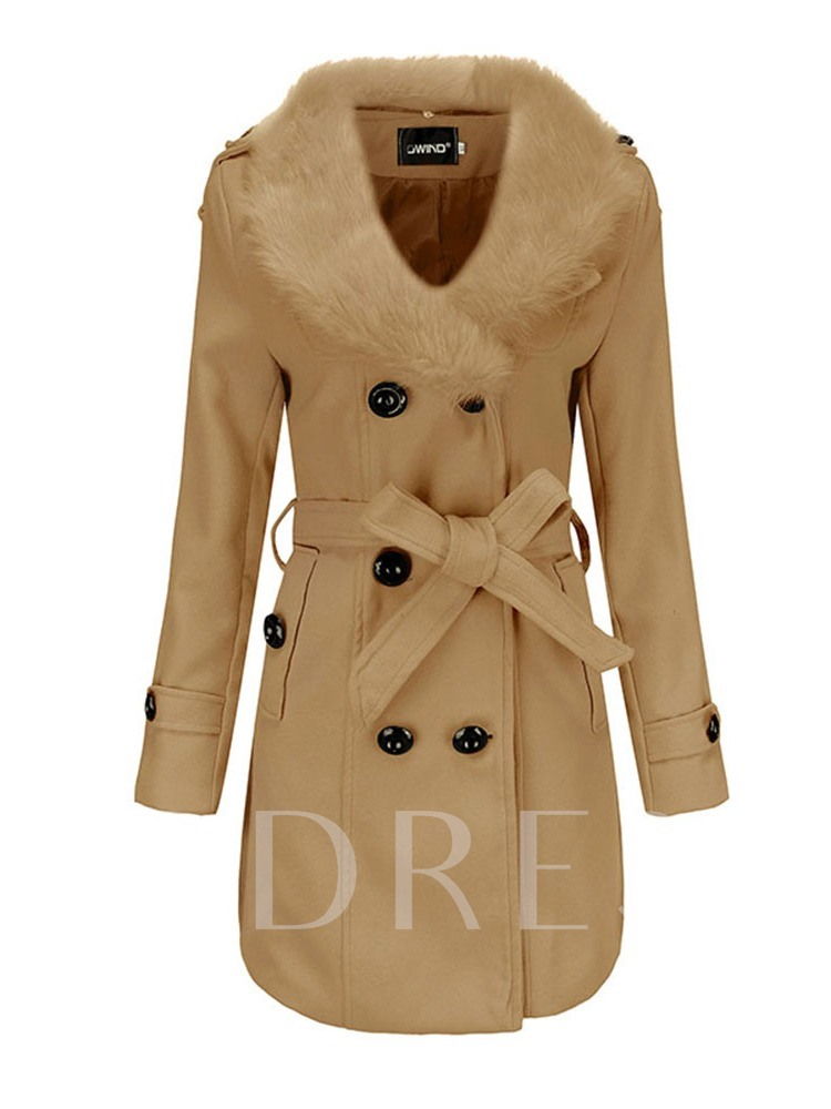 Flocking Double-Breasted Faux Fur Lapel Women's Overcoat
