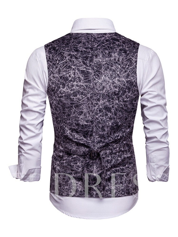 Animal Prined V-Neck Double-Breasted Men's Waistcoat