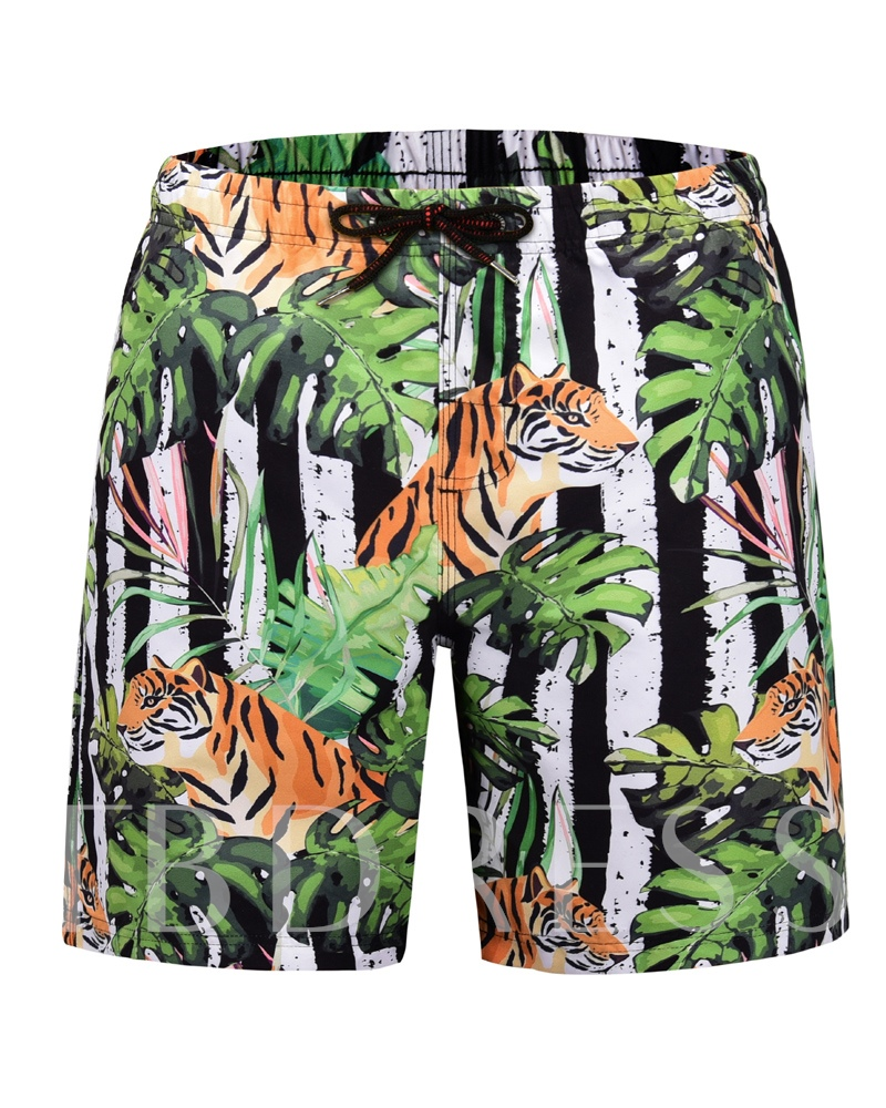 Straight Print Men's Beach Shorts