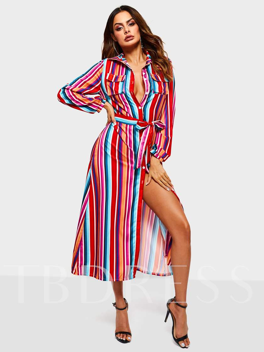 Long Sleeve Split Lapel A-Line Women's Maxi Dress