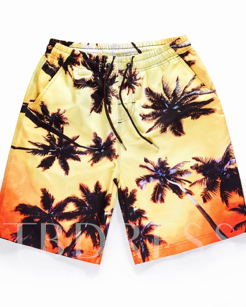 Straight 3D Coconut Tree Print Men's Beach Shorts
