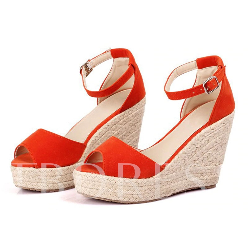 Wedge Heel Buckle Peep Toe Vintage Espadrille Sandals