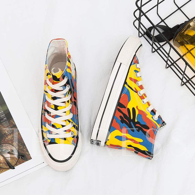 Round Toe Lace-Up High-Cut Upper Camouflag HIgh Top Canvas Sneakers