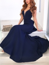 Straps Mermaid Sleeveless Ruffles Floor-Length Evening Dress