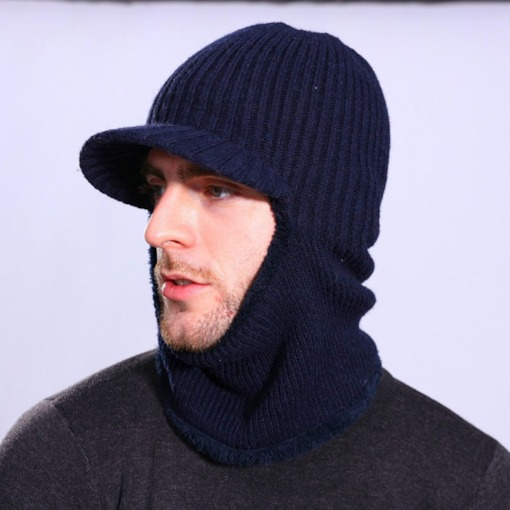 Warm Windproof Knitted Sports Men's Hats with Collar