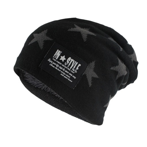 Star Pattern Imitation Cashmere Men's Knitted Beanie