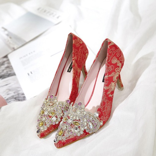 Slip-On Stiletto Heel Pointed Toe Embroidery Wedding Thin Shoes