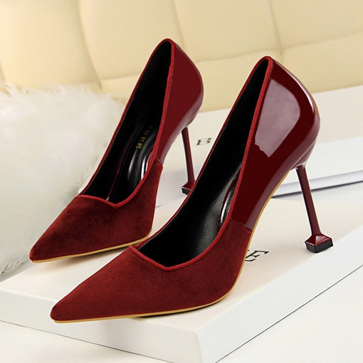 Pointed Toe Stiletto Heel Slip-On Low-Cut Upper Elegant Pumps