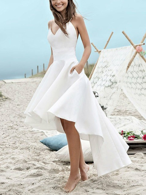 Asymmetry Spaghetti Straps Pockets Beach Wedding Dress
