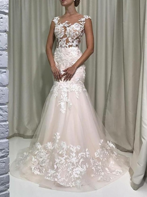 Cap Sleeve Mermaid Appliques Wedding Dress 2019