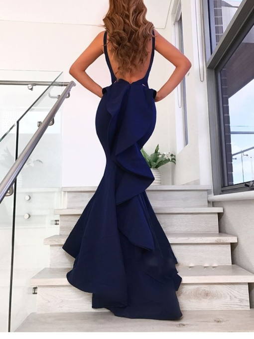 Straps Mermaid Ruffles Backless Evening Dress