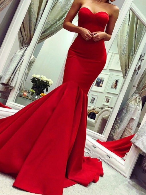 Mermaid Sweetheart Sleeveless Chapel Evening Dress