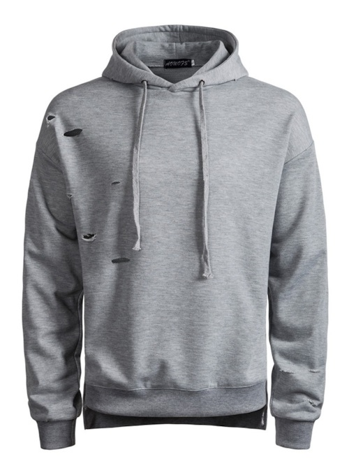 Pullover Hole Plain Men's Hoodie