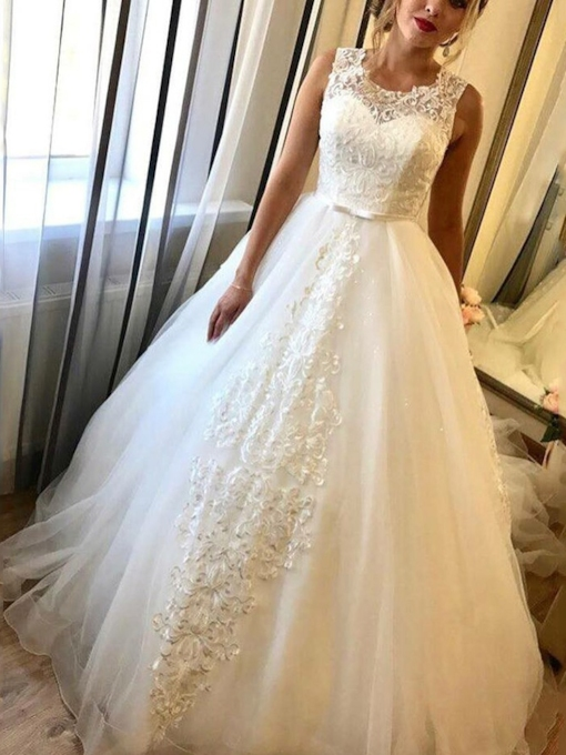 Scoop Neck Bowknot Lace Wedding Dress 2021