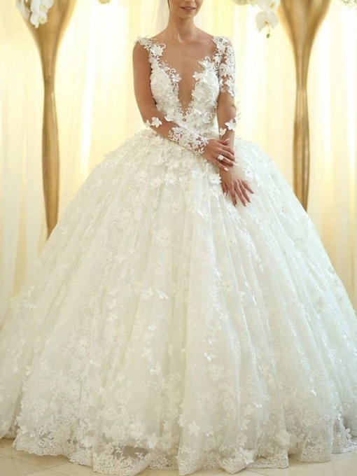 Ball Gown Long Sleeves Flowers Wedding Dress 2019