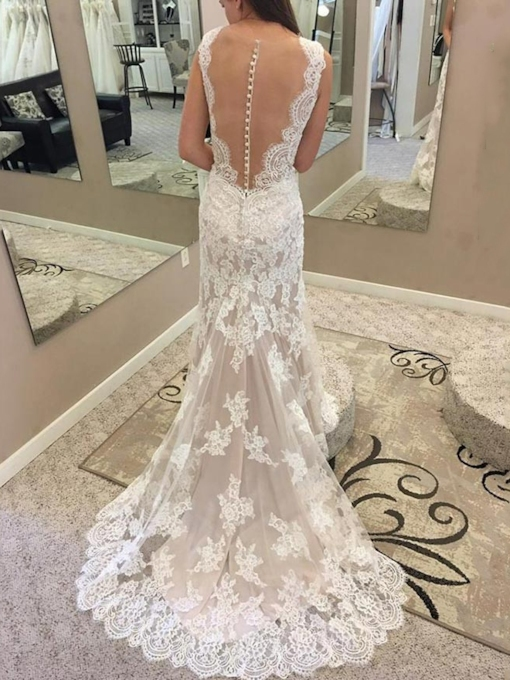 Button Sheer Back Mermaid Lace Wedding Dress 2019