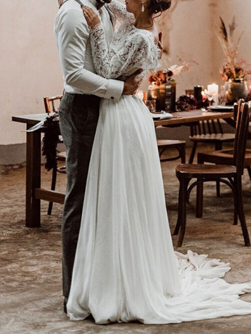 Two Pieces Lace Long Sleeves Beach Wedding Dress 2021