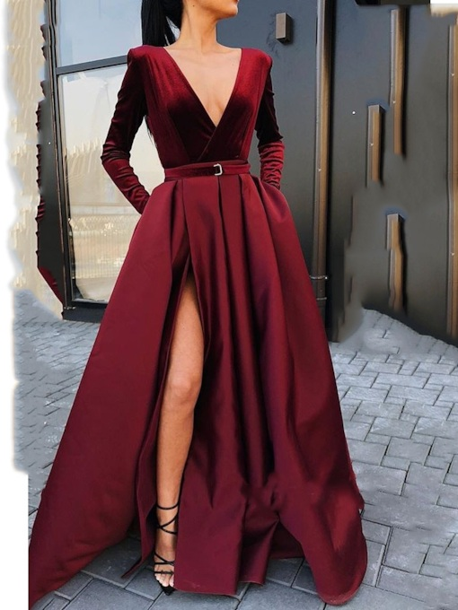 Split-Front A-Line Floor-Length V-Neck Evening Dress
