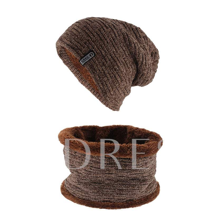 Warmth Windproof Winter Hat Scarf Knitting 2-Piece Set