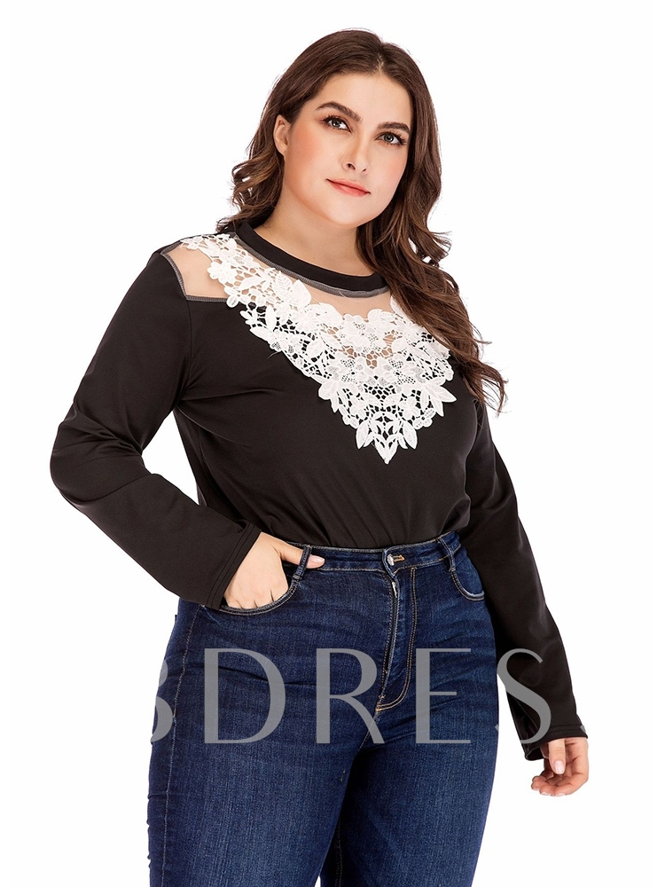 Plus Size Sexy Hollow Shorts Color Block High-Waist Women's Rompers