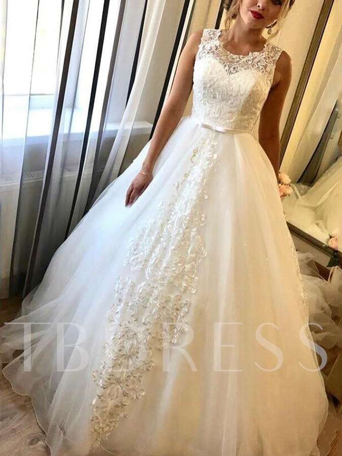 Scoop Neck Bowknot Lace Wedding Dress 2019