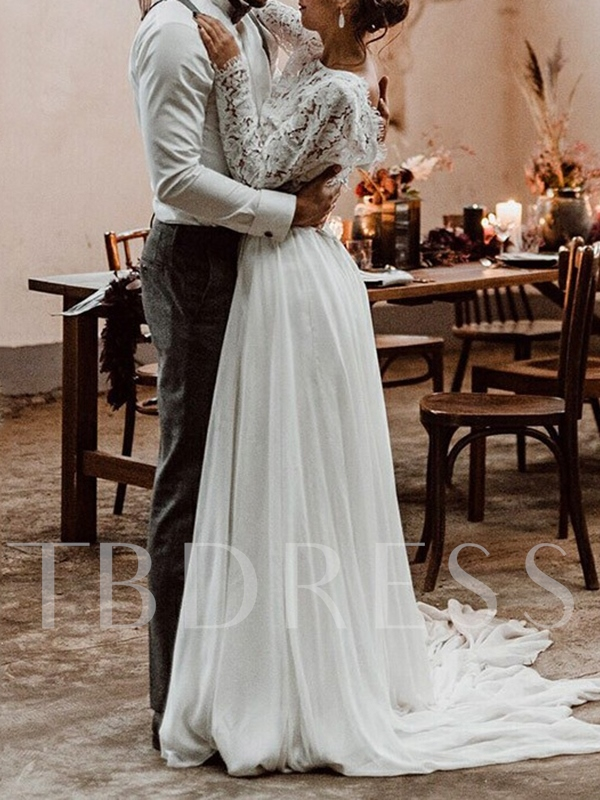Two Pieces Lace Long Sleeves Beach Wedding Dress 2019 Tbdress Com