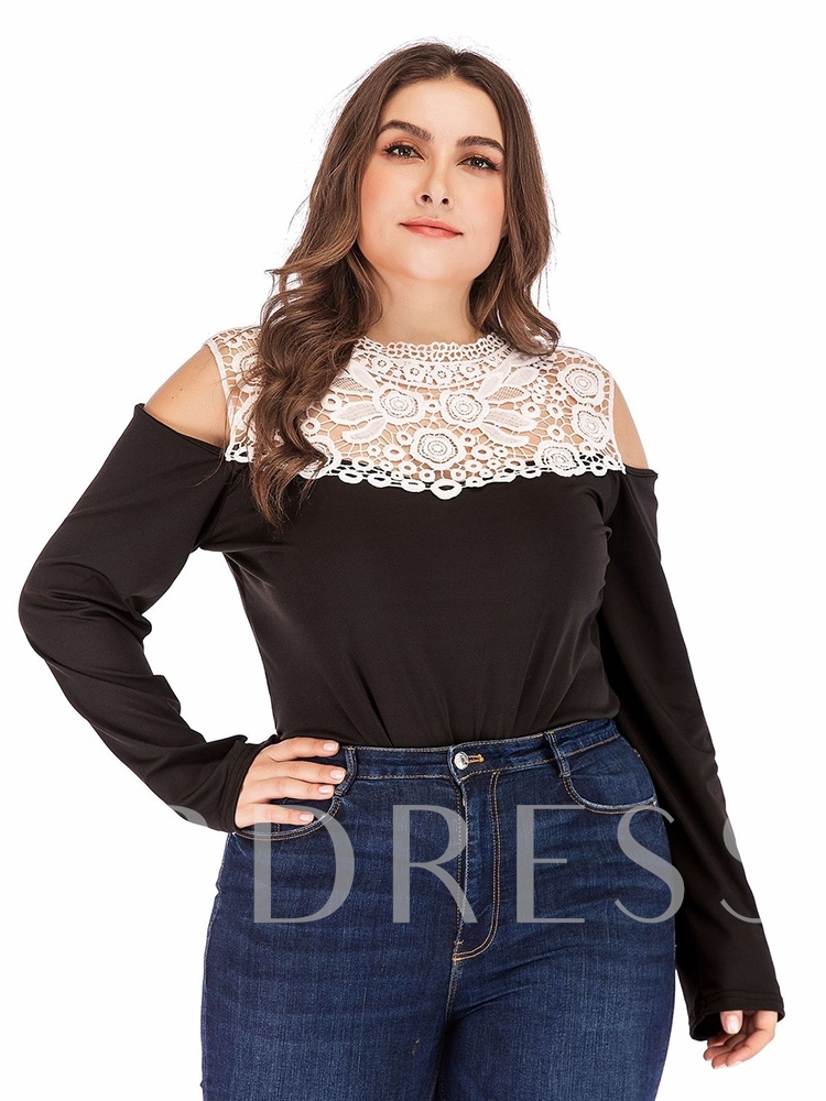 Plus Size Short Lace Sexy Color Block High-Waist Women's Rompers