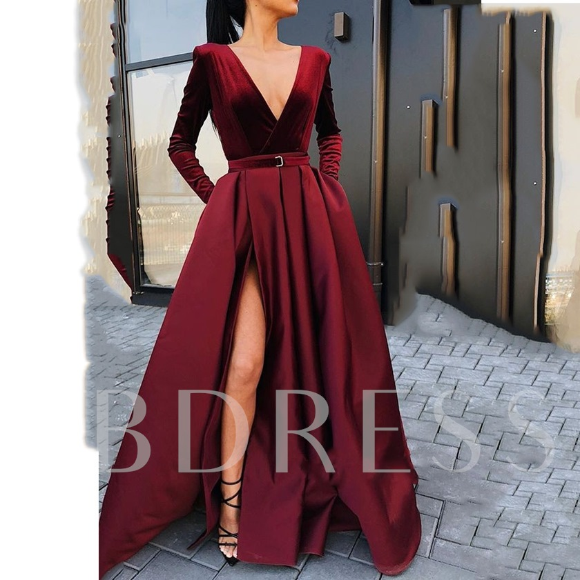 Split-Front A-Line V-Neck Sashes Evening Dress 2019