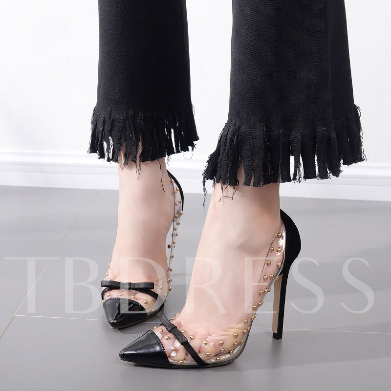 Pointed Toe Slip-On Bow Stiletto Heel Rivet Pumps