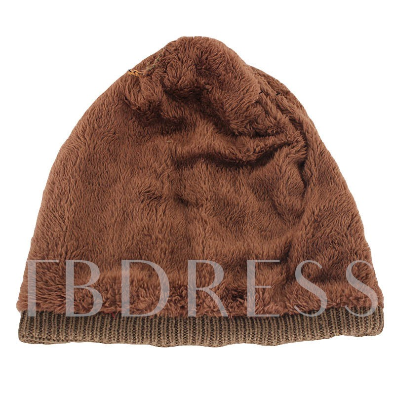 Plaid Appliques Knitted Woolen Yarn Men's Hat