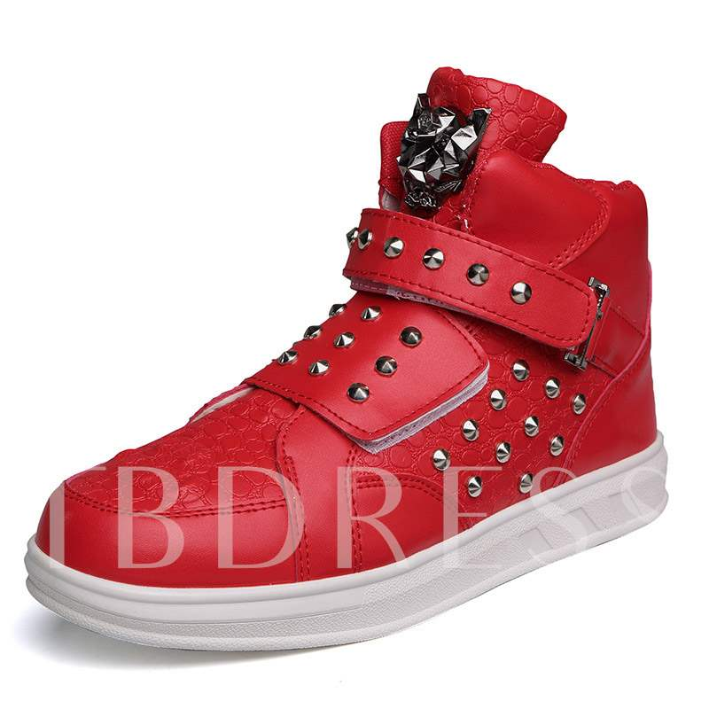High-Cut Upper Flat Rivet Velcro Round Toe Men's Sneakers