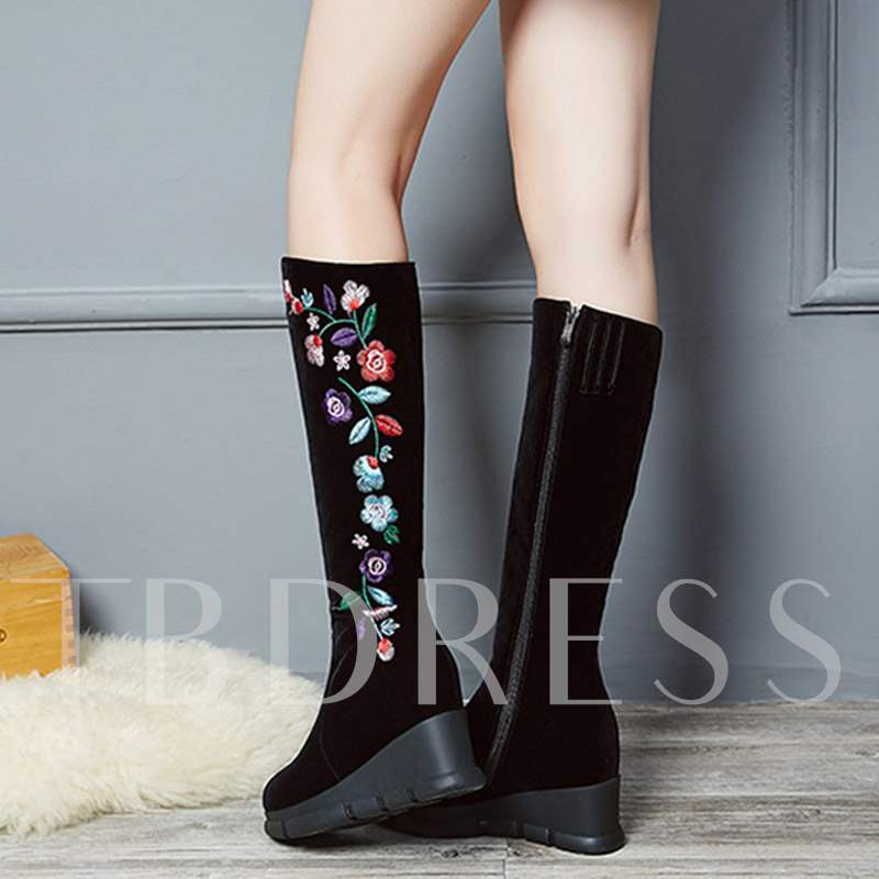 Embroideed Platform Round Toe Wedge Heel Knee High Boots