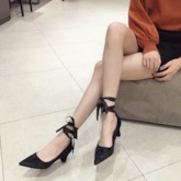 Ribbon Pointed Toe Chunky Heel Slip-On Suede Ladylike Pumps