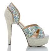 Slip-On Peep Toe Heel Covering Stiletto Heel Banquet Wedding Sandals