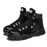Round Toe Patchwork Lace-Up Front Casual Men's Boots