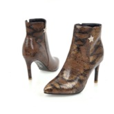 Snake Print Stiletto Heel Side Zipper Color Block Pointed Toe Ankle Boots