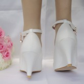 Lace Pointed Toe Buckle Wedge Heel Women's Wedding Shoes
