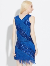 Sleeveless Sequins V-Neck Pullover Women's Party Dress