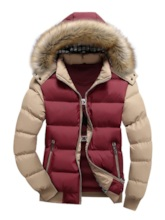 Color Block Patchwork Hooded Casual Men's Down Jacket