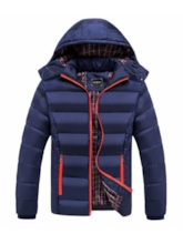Plain Hooded European Men's Down Jacket