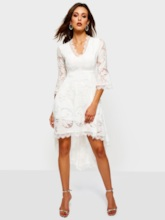 V-Neck Patchwork Asymmetrical Women's Lace Dress