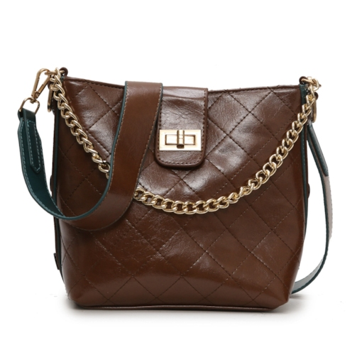 Quilted Lining PU Chain Barrel-Shaped Tote Bags