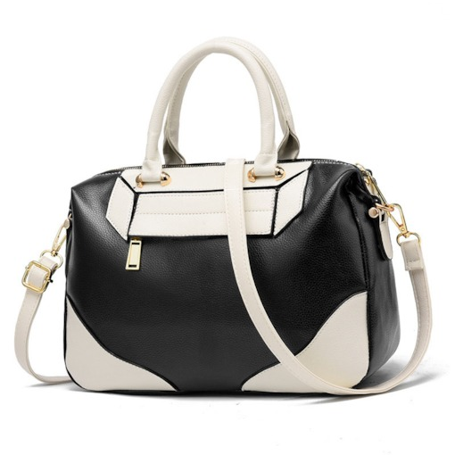 Fashion PU Color Block Hobos Tote Bags