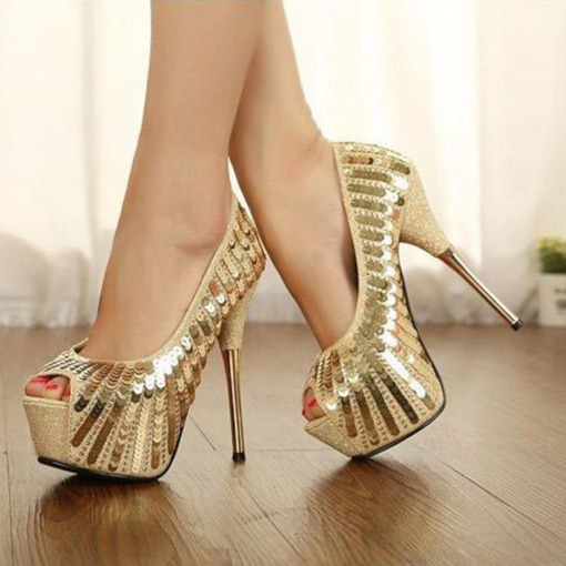 Slip-On Peep Toe Heel Covering Sequin Platform Prom Shoes